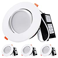 TORCHSTAR 13.5W 6 Inch Gimbal LED Recessed Light with Junction Box Air Tight, CRI90...