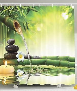 BBFhome Spa Dekor Badezimmer Zen Garten Dekor Ansicht Für Badezimmer  Magische Duschvorhang 168x180 Cm Jasmin Blumen