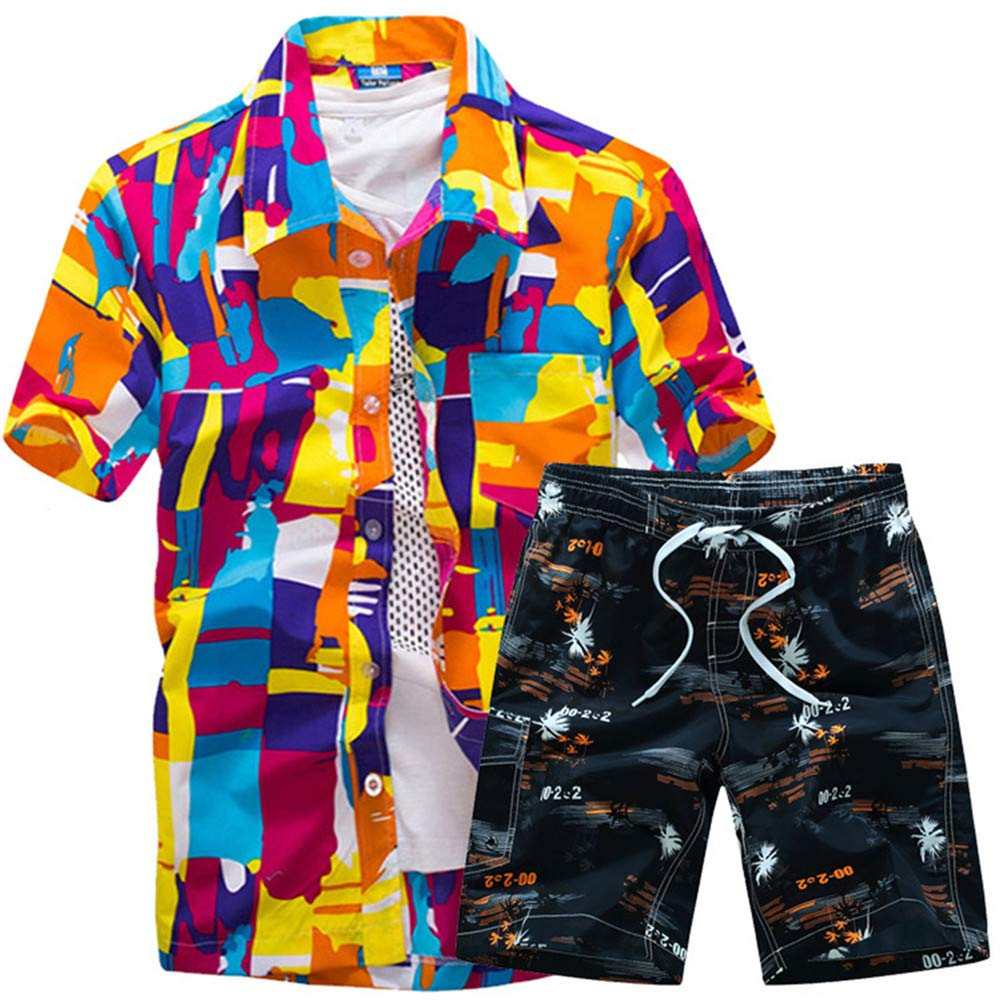 Shirt Floral Print Short Sleeve Fashion Simple Wild Retro Set Men