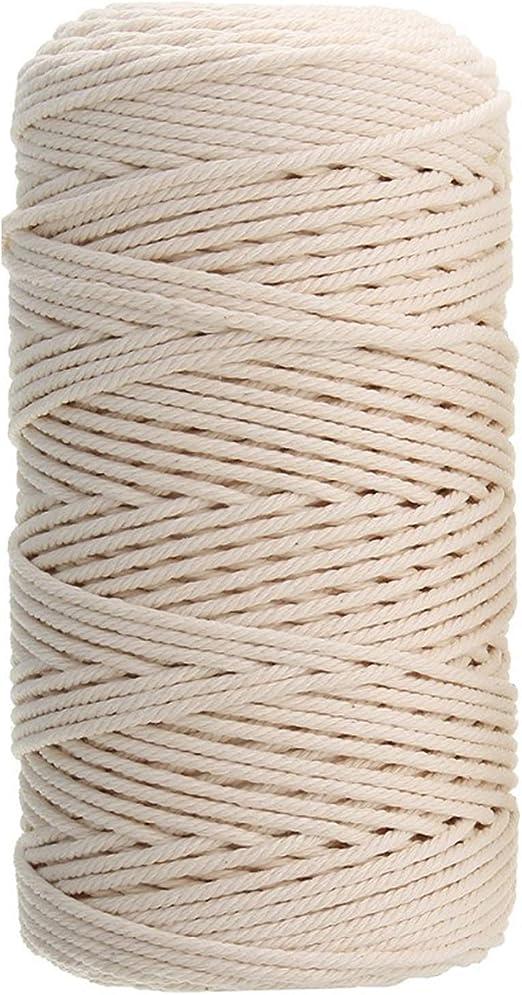 Ouinne Cuerda Cordel de Algodón Hilo Macramé, 3mm x 100m Cuerda ...