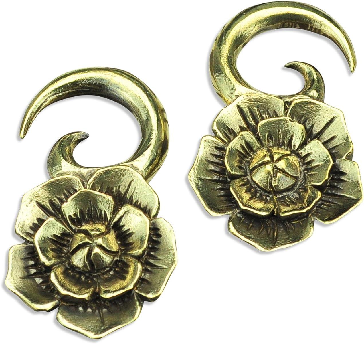 White Brass Flower Ear Weights Hangers Gauges