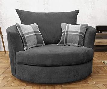 Large Swivel Round Cuddle Chair Fabric Grey Amazon Co Uk Kitchen