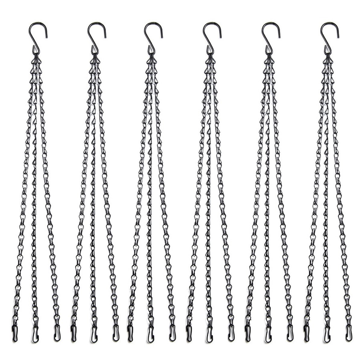 Magarz 22 Inch Galvanized replacement hanging baskets and flower pots chain for outdoor or indoor (6pcs black)