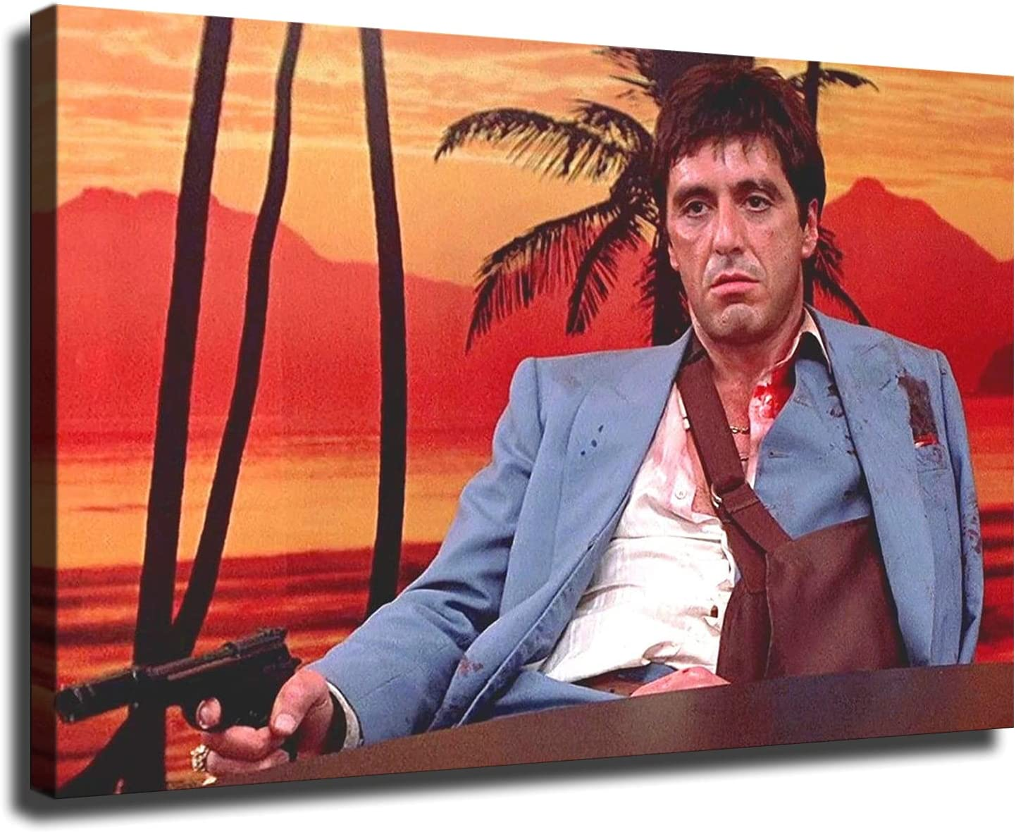 Mafia Scarface Godfather Casino Gangster Poster Picture Art Print Canvas Wall Art Home Living Room Bedroom Decor Mural (16×24inch-Framed)