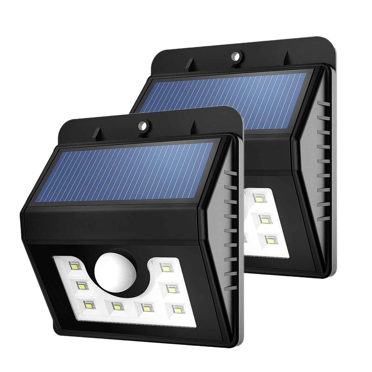 Solar Light Outdoor,WONFAST Waterproof Solar Power 8 LED Security Lighting Motion Sensor Wall Light for Garden Diveway Patio Fencing Path (2-Pack)