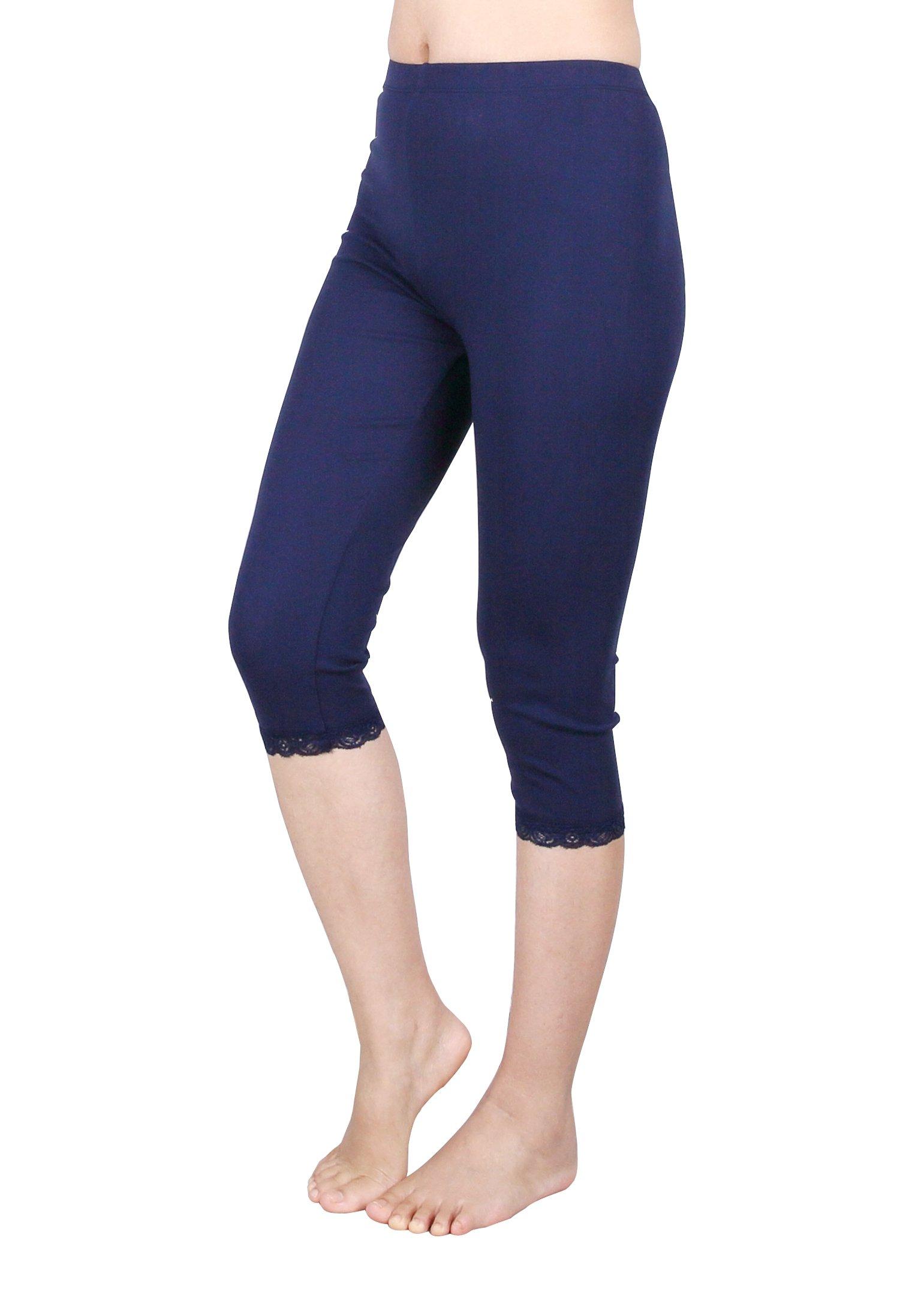 IRELIA 2 Pack Cotton Girls Leggings Capri with Lace Trim Pant Size 6-16 03 M by IRELIA (Image #3)