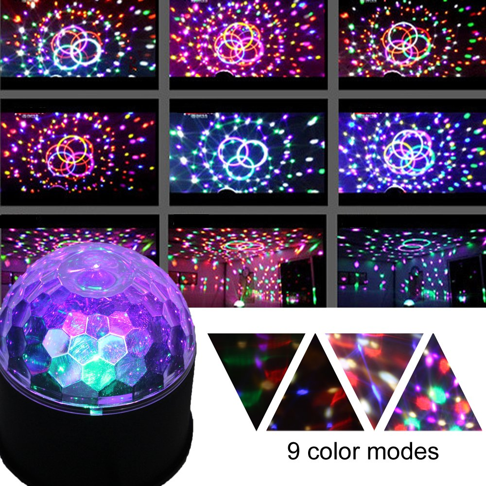 CHINLY LED Disco Ball Light MP3 Music Bluetooth Speaker USB Portable 9W 9color Modes Dance Hall Strobe Light Mini LED Stage Light Party Light for Wedding Party Bar Club DJ KTV (with Remote & US Plug) by CHINLY (Image #3)