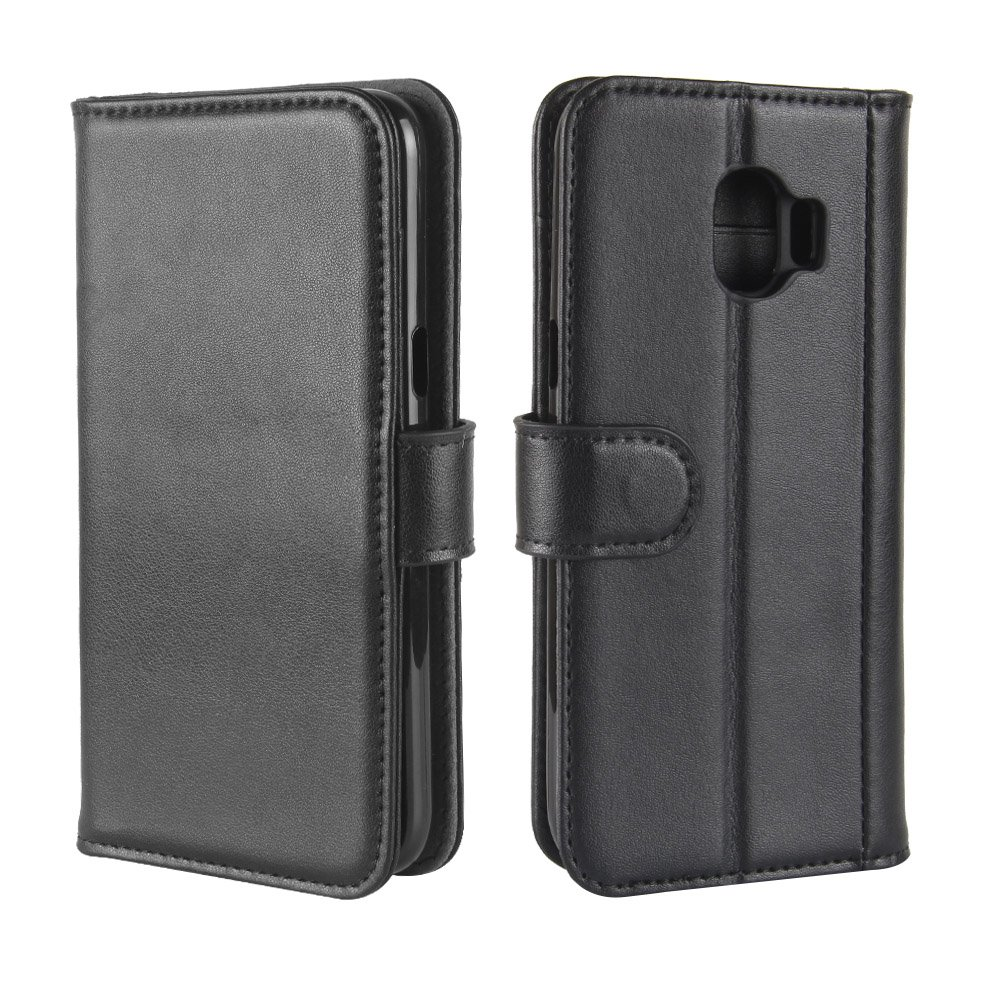 Scheam Flip Wallet Case Compatible with Samsung Galaxy J2 Pro 2018 Carry Case Shock Protection with Card Slots Lightweight Boys and Adjustable Stand Black