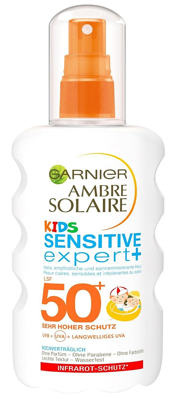 Garnier Ambre Solaire Kids Sensitive expert+ Sonnenschutz, mit LSF 50+, speziell für Kinder, zieht schnell ein, extra wasserfest, 200 ml speziell für Kinder C56777