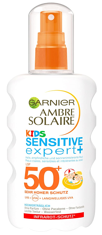 Garnier Ambre Solaire Sensitive Expert plus Sonnenschutz-Spray für Kinder LSF 50 plus, 1er Pack (1 x 200 ml)