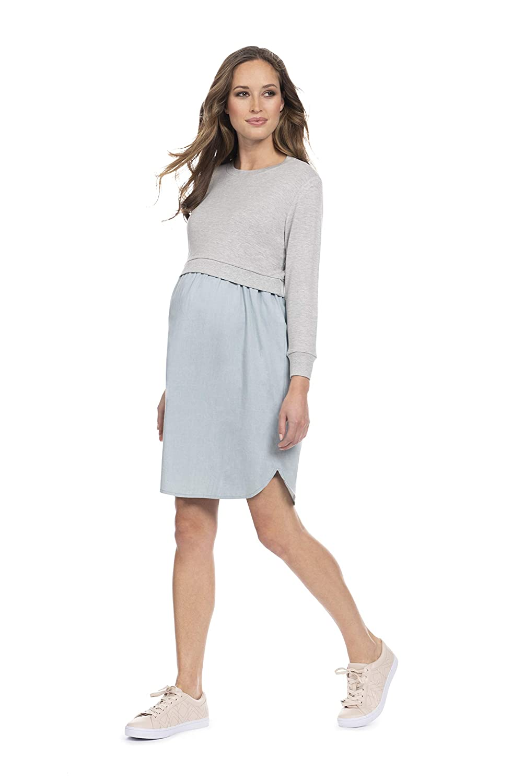 229809fc4d1 Seraphine Women s Mock Sweater Chambray Maternity   Nursing Dress at Amazon  Women s Clothing store