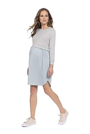 43f73956fdc0b Seraphine Women's Mock Sweater Chambray Maternity & Nursing Dress at ...