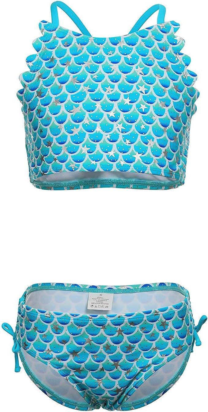 Girls Kids Mermaid Swimsuit Sparkly Fish Scales Bathing Suit Beachwear One Piece