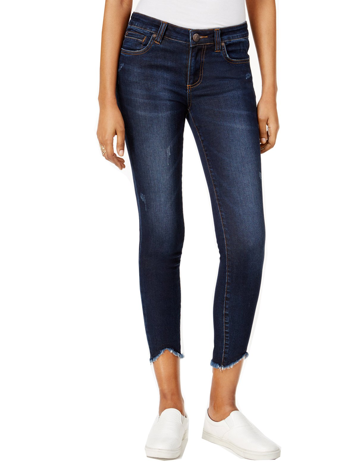 KUT from the Kloth Women's Connie Ankle Skinny-w/ Uneven Hem in Benefic w/ Dark Stone Base Wash Benefic/Dark Stone Base Wash 8