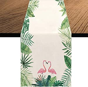 Summer Flamingo Table Runner,Seasonal Spring Summer Green Plants Holiday Kitchen Dining Table Decoration for Home Party Decor 13 x 70 Inch