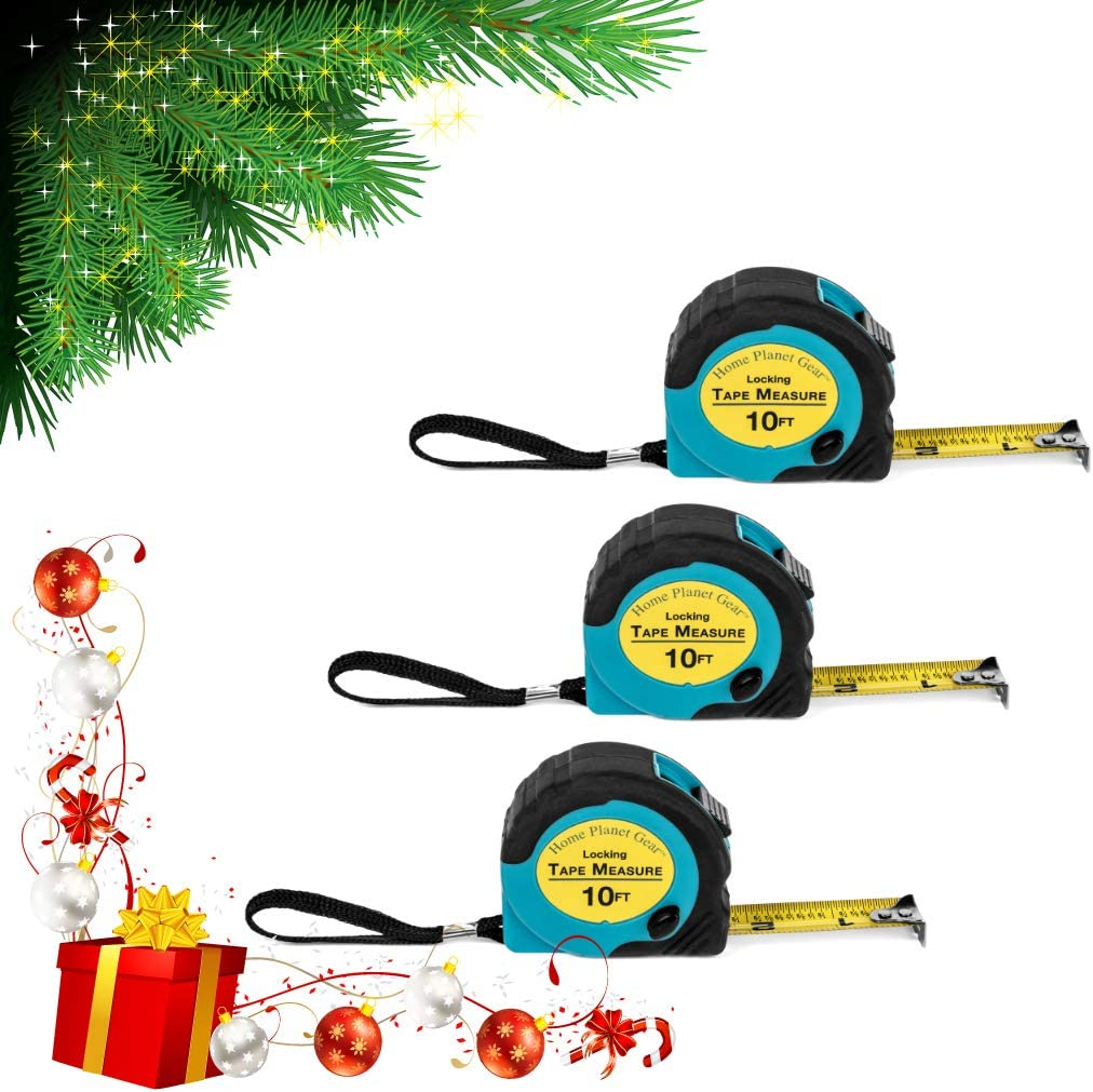 Home Planet Gear Locking, Retractable, and Auto-Wind Measuring Tapes- 3 Pack