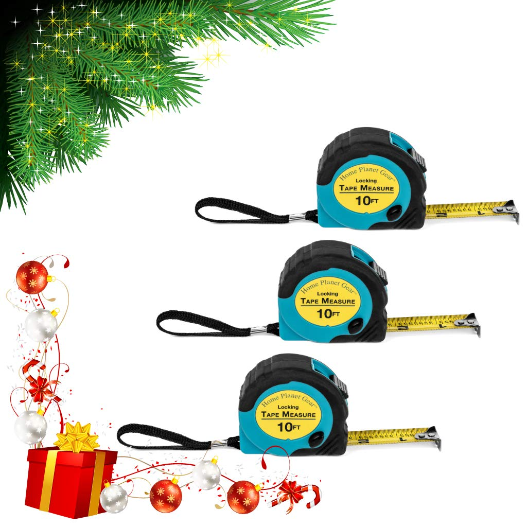 Where's My Tape Measure 3 Pack of 10 ft Locking Retractable Auto Wind Measuring Tapes with Fractions. Accurate Easy to Read EASY TO FIND