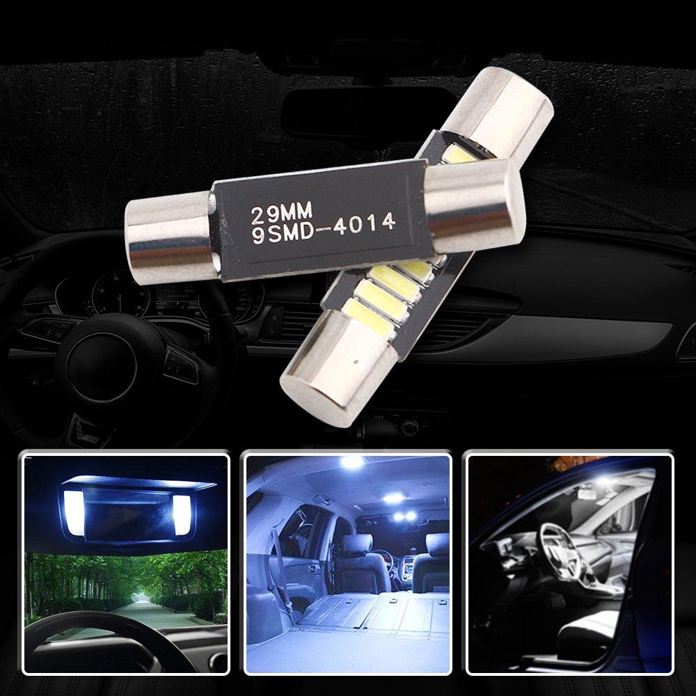 29MM 1,14 Super White 4014 9-SMD LED miroir fusible pare-soleil 6641 6612F 12V Festoon Dome LED Ampoules Pack de 10 EverBright