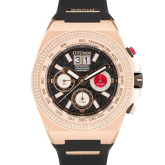Otumm SG - Reloj unisex con diamantes de imitación de oro rosa de 52 mm: Amazon.es: Relojes