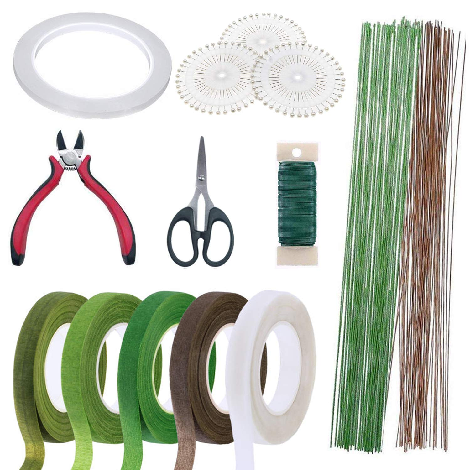 Floral Arrangement Tool Kit, Woohome 2 Style Tape Stem Wrap, 2 Style Floral Wire, Wire Cutter, Scissors and Head Pins for Wedding Bouquet DIY