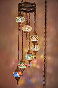 7 Globes Swag Plug in Turkish Moroccan Mosaic Bohemian Tiffany Ceiling Hanging Pendant Light Lamp Chandelier Lighting with 15feet Cord Chain and Plug, 50