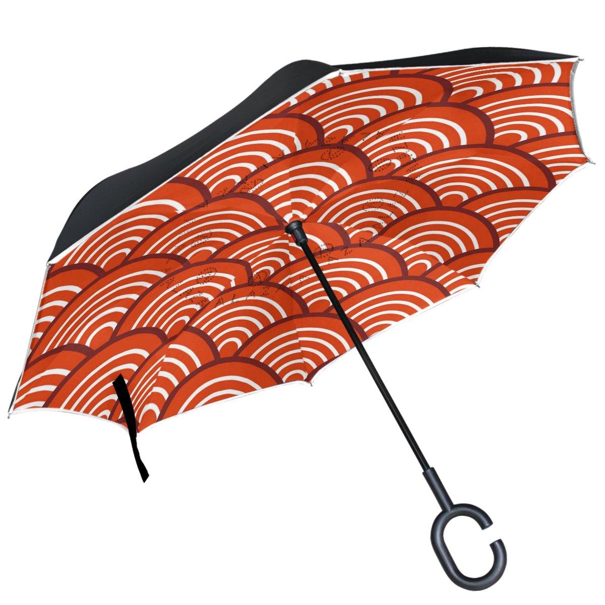 ALAZA Rouge traditionnel Wave Seigaiha inversé Parapluie double couche coupe-vent Parapluie de l'envers