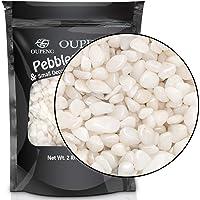 OUPENG Pebbles Polished Gravel, Natural Polished White Stones 3/8″ Gravel Size, Small Decorative River Rock Stones 2-lb Bag (32-Oz)