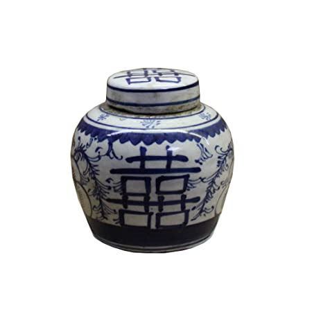 LJ3 Festcool Antique Style Blue and White Porcelain Good Luck Ceramic Covered Jar Vase China Ming Style Jingdezhen