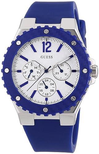 4a9ad27c2c9e W90084L3 Guess Women s Watch Analogue Quartz White Dial Black Silicone Strap  (Blue)  BS  Amazon.co.uk  Watches