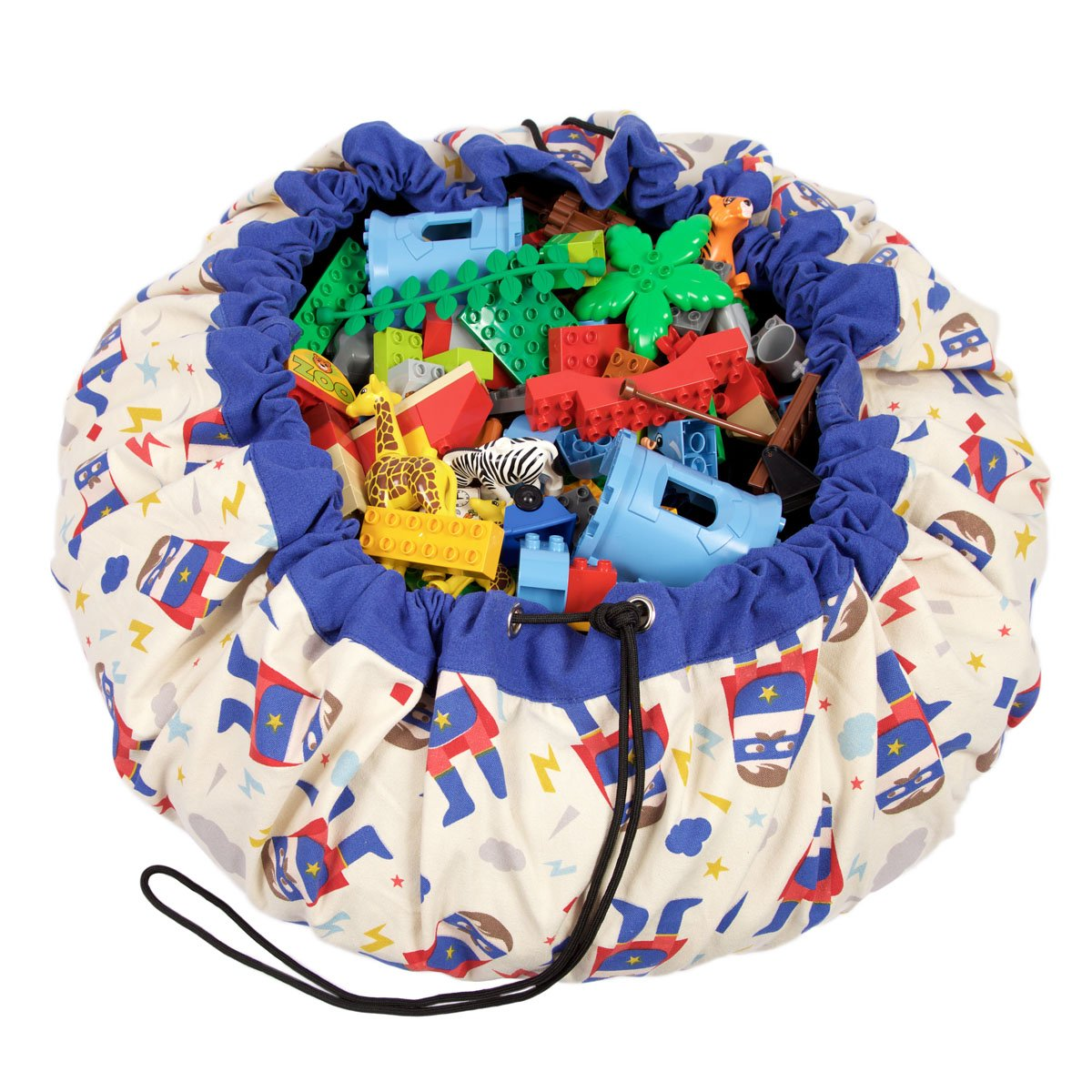 Play Mat and Toy Storage Bag - Durable Floor Activity Organizer Mat - Large Drawstring Portable Container for Kids Toys, Books - 55'', Superhero by Play&Go