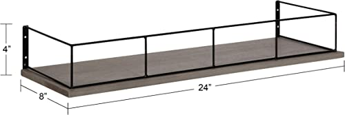 Kate and Laurel Benbrook Wood Shelf, 24 x 8 , Gray and Black, Rustic Farmhouse Storage