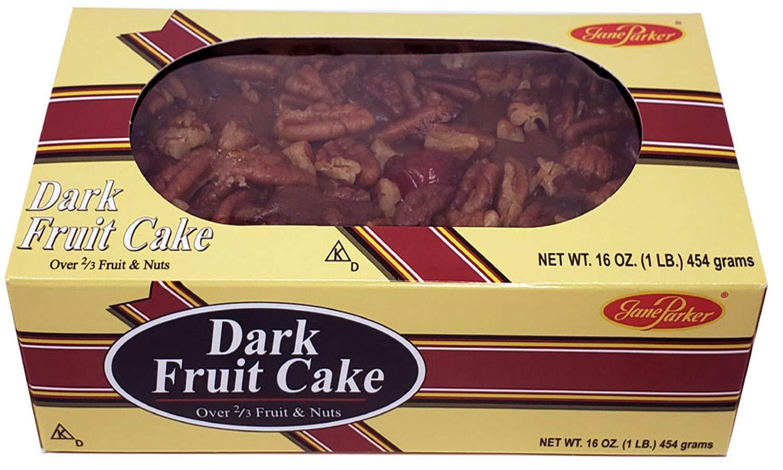 Jane Parker Dark Fruit Cake 16 Ounce (1 pound) Fruitcake in Box