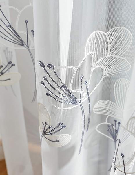 Lactraum Salón Dormitorio Jardín de Invierno Trabajo de Habitaciones niña Chica Regalo 1er Pack con Ojales Cortinas Bordado Flores zephyranthe 200 x 245 cm(B x H): Amazon.es: Hogar