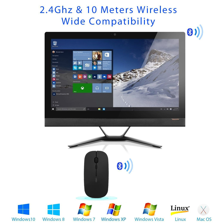 Inphic ratón Botones silenciosos Ultra-fino de 2,4 GHz inalámbrico recargable de ratón incorporado en la batería para PC Ordenador portátil