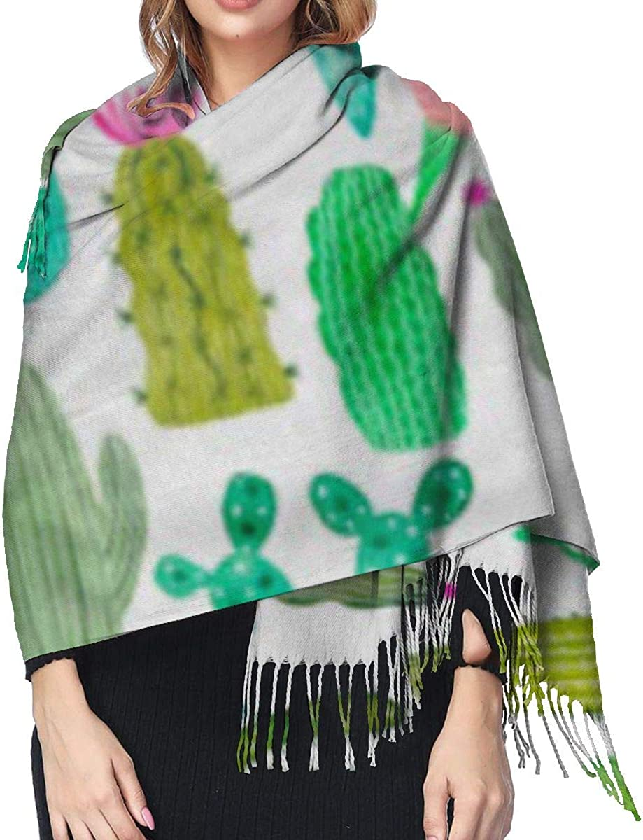 Soft Cashmere Scarf For Women Fashion Lady Shawls,Comfortable Warm Winter Scarfs Green Pattern Watercolor Cactus Cacti White Drawing Blossom Botanical Collection