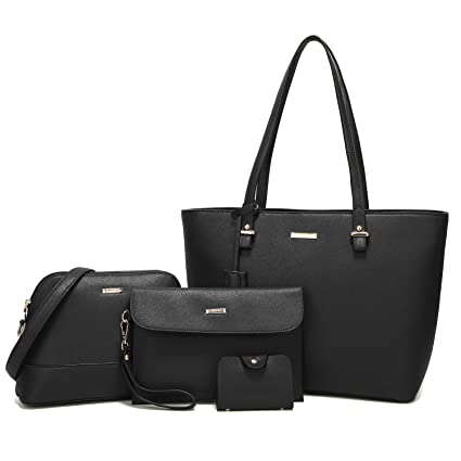 ce1f4161e50f ELIMPAUL Women Fashion Handbags Top Synthetic Leather Shoulder Bag Purse  Card Holder Tote Bag Set 4pc  Amazon.co.uk  Luggage