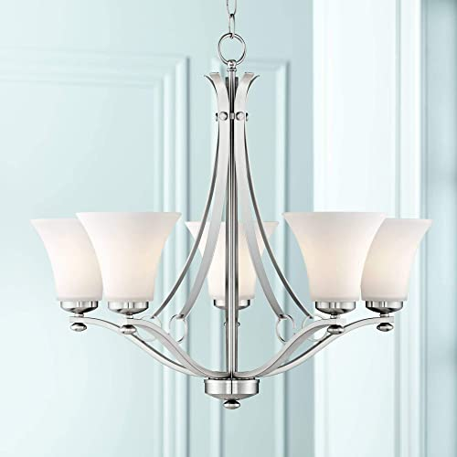 "Bollyn Brushed Nickel Chandelier 26 1/2"" Wide Modern Curved Arms White Glass 5-Light Fixture"