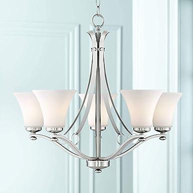 Bollyn Nickel White Glass 26 1 2 W 5-Light Chandelier