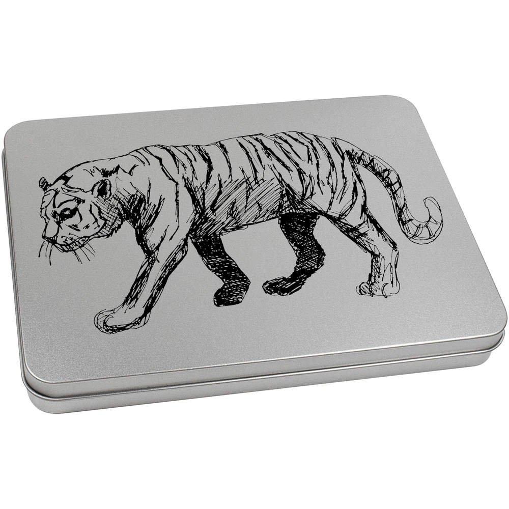 Aufbewahrungsbox Azeeda 220mm x 160mm Gehender Tiger Blechdose TT00065221