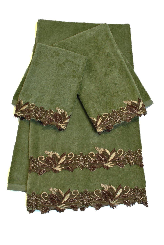 Sherry Kline 3 Piece Romantica Lace Decorative Towel Set, Sage