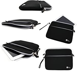 "DURAGADGET Black 10"" Neoprene Water-Resistant Case for Acer Iconia A210 / W511 / A3 / A510 / A700 / W700 - with Zipped Front Storage Pocket & Removable Wrist Strap"