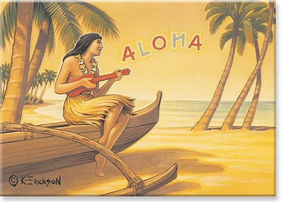 Hawaiian Art Collectible Refrigerator Magnet Aloha Serenade by Kerne Erickson