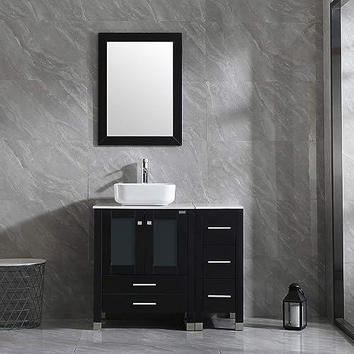Wonline 36 Black Bathroom Vanity and Sink Combo Wood Cabinet Top Square Ceramic Vessel Sink Faucet Drain Combo