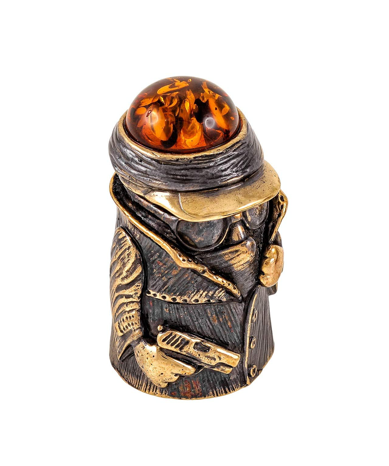 Amber and Brass Thimble (Gangster) Decorative Souvenir Thimbles. Antique and Vintage Designs from Kaliningrad, Russia. Packed in a Beautiful Siberian Birch Bark Gift Box (Random Selection) by Brass and Amber Art