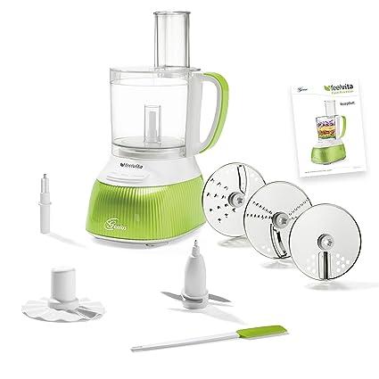 Procesador de comida Feel Vita Food de Genius, con 12 piezas. Robot de cocina con 11 funciones, picadora: Amazon.es: Hogar