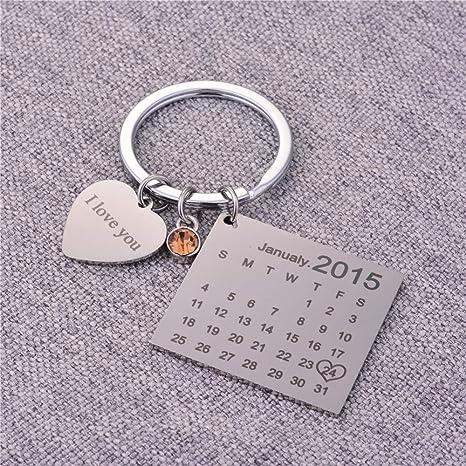 Partner Schlüsselanhänger Gravur Kalender Schöner Tag Edelstahl Paar Schlüssel Anhänger Silber Personalisierte Geschenke Birthstone Koffer Rucksäcke Taschen