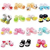 VWU 6 Pack Baby Cute Animal Socks Infant Slipper Shoes Anti Slip 0-12 Months