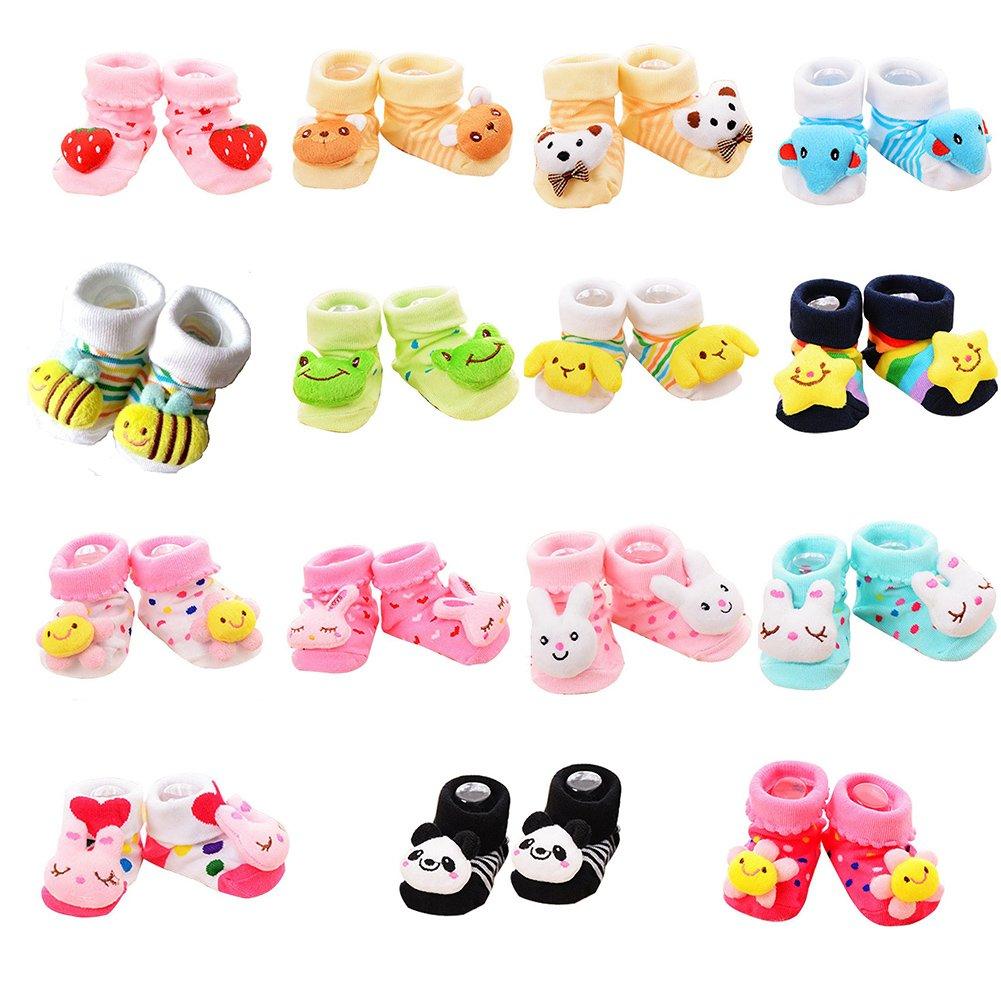VWU Random 12 Pairs Unisex Baby Cute 3D Cartoon Socks Infant Slipper Shoe Booties SK001