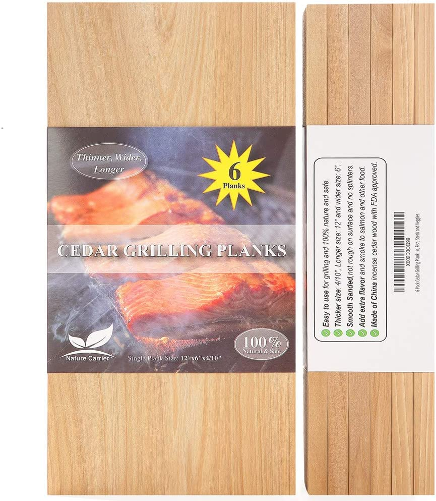 "6 Pack Cedar Grilling Planks with Larger Size: 6""x12""x0.4. Add Extra Flavor and Smoke - FDA Approved BBQ Aromatic Wood Cedar Planks for Grilling Salmon, Fish, Steak and Veggies."