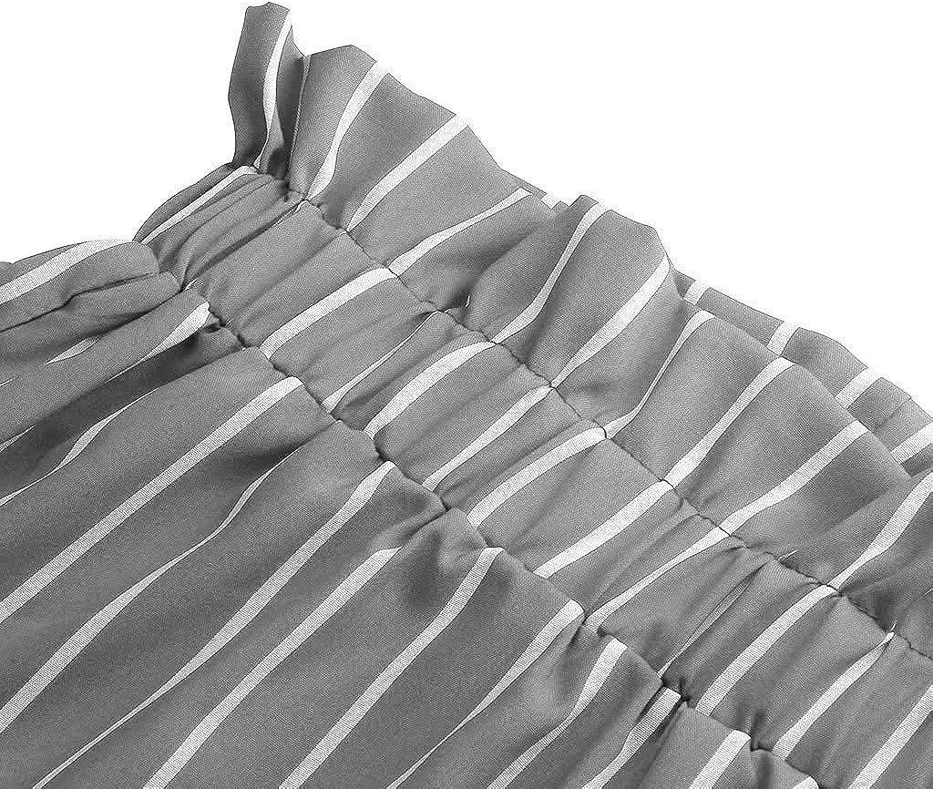 Meikosks Womens Casual Short Pants Stripe Printing Bottoms High Waist Bandage Pants Pocket Shorts